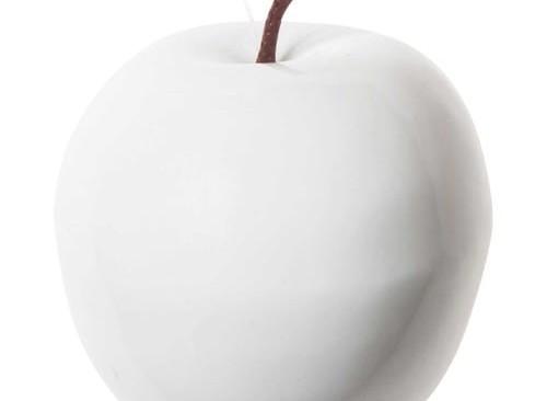 Déco de Noël pomme blanche 7 cm